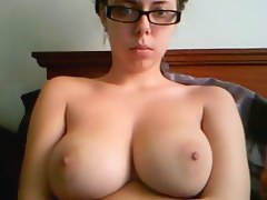 Busty college woman on webcam
