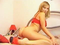 Shove around blonde teen fucks on webcam