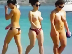 1St time in nature's garb at the beach gentlefolk showing hawt bodies