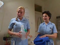 2 British Nurses Soap Up And Screw A Fortunate Man