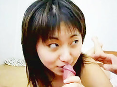Asian GF tastes her first dick