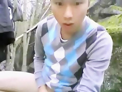Asian gay masturbation outdoors