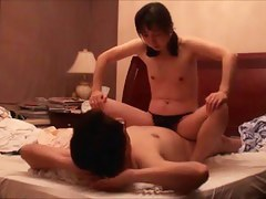 Flatchested Asian riding manメs dick