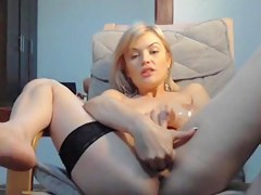 Golden-Haired masturbating and fisting her dote on tunnel