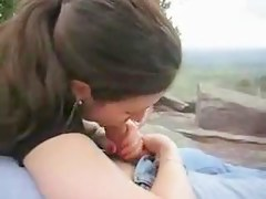 Hot and wet blowjob in the nature