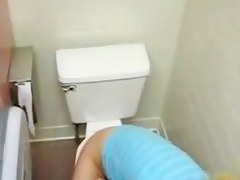 Nice blonde teen caught helter-skelter a toilet
