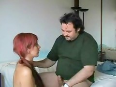 Long-haired floozy fucking her superannuated boss