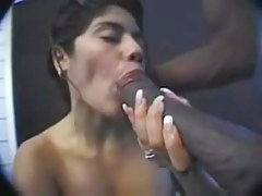 Latina sucks a broad in the beam black pecker