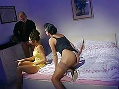 Vintage French porn shows a hot ffm threesome sex