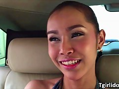 Thai Shemale Benz gets her mortality real sucked and her ass fucked