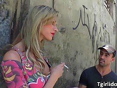 Blonde TS Bianca Sereia, gets fucked in a hardcore threesome