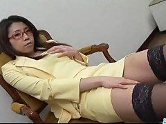 Mizuki Ogawa girl with glasses gets threesome copulation