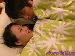 Japanese milf tugging with an increment of sucking before cumshot