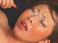 Busty JAV-Girl Bukkake Drenched In Cum!