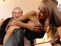 Gloomy skinned French maid fucks her older employer