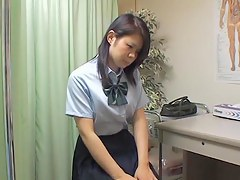 Weirdo bastardize examines cute Japanese schoolgirl cunt and tits