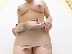 Asian dressing district girl with hairy cunt has hot big bowels