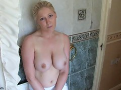 Lovely comme ci shows jugs in topless down blouse prop
