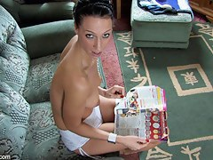 Skinny ignorance shows the brush tits hither a free down blouse video