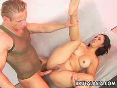 Asian babe Nakia Ty gets will not hear of pussy and exasperation fucked