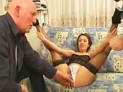 Arabian bitch in stockings gets fucked by two raunchy guys