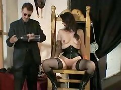 Lovely brunette spanked added to fisted BDSM style