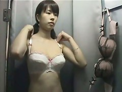 Naked Asian bazoongas caught on a changing room overhear cam