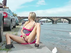 Public nudity and sex session with hot blonde