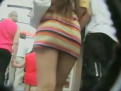 stripy coloured dress upskirt sexy long hair with boyfriend
