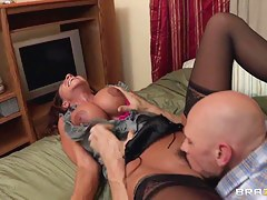 Ariella Ferrera with big titties licked by Johnny Sins
