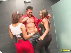 Two grotesque babes with fantastic asses diet a blowjob