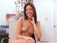 Slim brunette babe Brooke gets unfold at interview