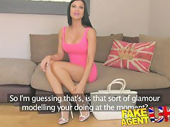 FakeAgentUK: Tanned athletic goddess with comely titties gets creampied